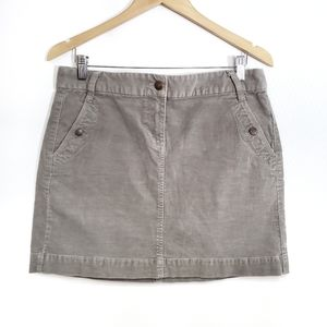 8 JCrew Corduroy Putty Gray Mini Skirt